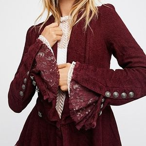 Free People Lace Bell Sleeve Blazer - Pink